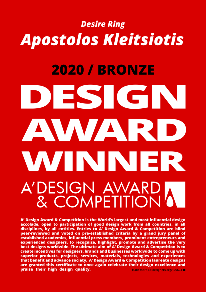 Apostolos A Design Award 2020 certificate